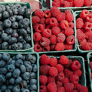 At the Wakefield Farmers Market, fresh berries are on display from Farmer Daves of Dracut, MA