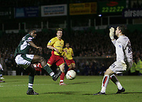 Photo: Lee Earle.<br /> Plymouth Argyle v Watford. The FA Cup. 11/03/2007.Plymouth's Sylvan Ebanks-Blake(L) takes a shot at goal.