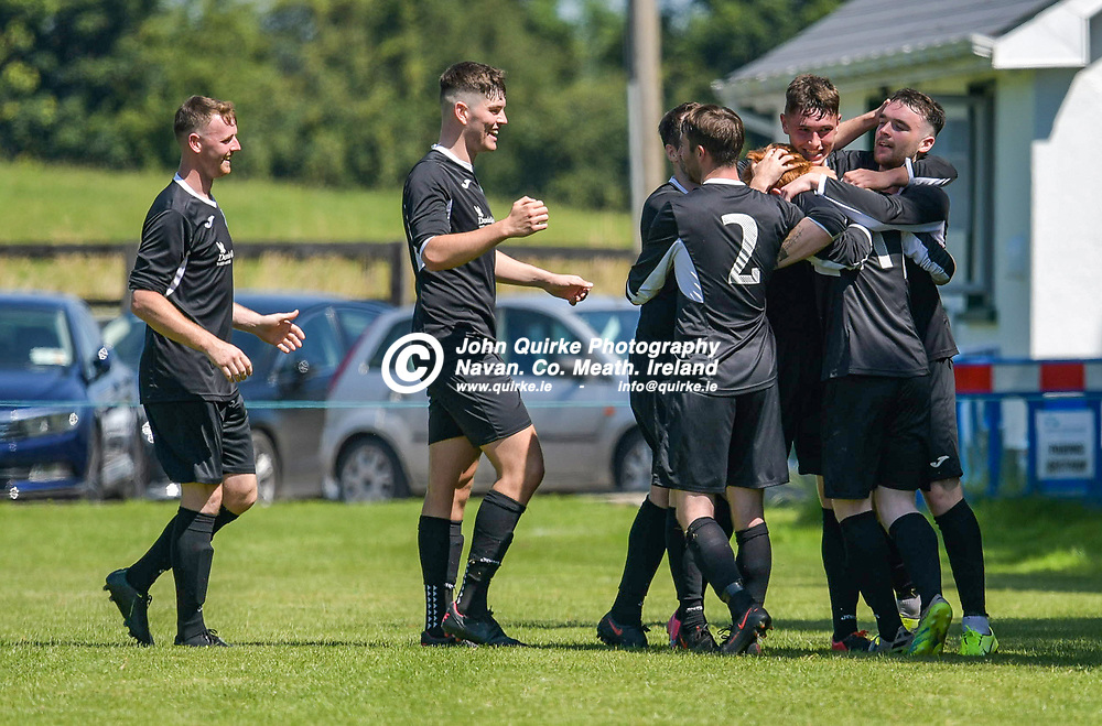 Players celebrate with Dean Courtney after he scored a goal for Trim Celtic,   during the Trim Celtic v Duleek, NEFL (Premier) match in Tully Park, Trim.<br /> <br /> Photo: GERRY SHANAHAN-WWW.QUIRKE.IE<br /> <br /> 18-07-2021