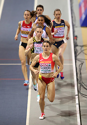 Spain's Esther Guerrero leads the pack during the Women's 800m 1st semi final during day two of the European Indoor Athletics Championships at the Emirates Arena, Glasgow.