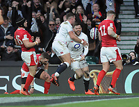 Rugby Union - 2020 Guinness Six Nations Championship - England vs. Wales<br /> <br /> Elliot Daly of England celebrates his try with George Ford, at Twickenham.<br /> <br /> COLORSPORT/ANDREW COWIE
