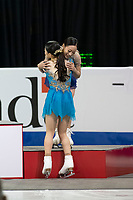 KELOWNA, BC - OCTOBER 26: Ladies silver medalist, Japanese figure skater Rika Kihira congratulates bronze medalist Young You of Korea during medal ceremonies of Skate Canada International held at Prospera Place on October 26, 2019 in Kelowna, Canada. (Photo by Marissa Baecker/Shoot the Breeze)