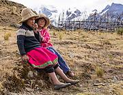 Campesino children at Pishgopampa village in Jancapampa Valley. Day 4 of 10: Trek 10 days around Alpamayo, in Huascaran National Park (UNESCO World Heritage Site), Cordillera Blanca, Andes Mountains, Peru, South America.