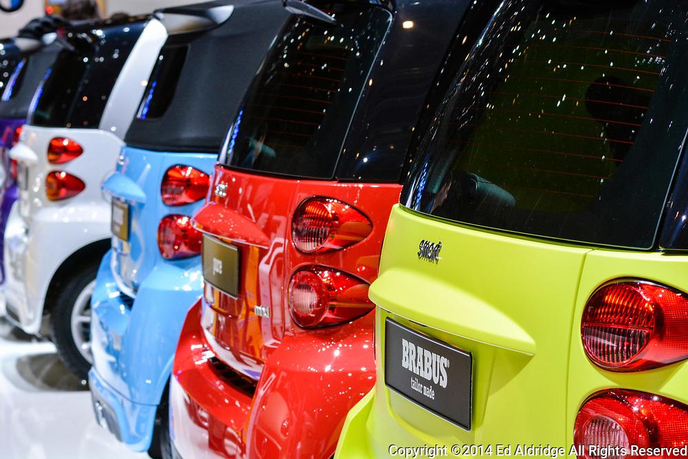 GENEVA, SWITZERLAND - MARCH 4, 2014: Smart cars on display during the Geneva Motor Show.
