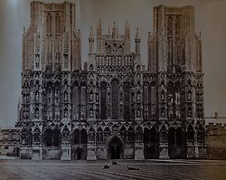 Wells Cathedral west from view photographed in 1872 in a book of old photographs to be auctioned at Bonhams. Bonhams, Knightsbridge, London, November 23 2018.