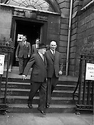 15/05/1959<br /> 05/15/1959<br /> 15 May 1959<br /> General Sean Mac Eoin nominated for the Presidency. General Mac Eoin T.D. handed in his nomination papers as Candidate for the Presidential Election to the Returning officer Mr. Michael Lawless at the Custom House Dublin. Picture shows General Mac Eoin (right) leaving the Custom House, Dublin.