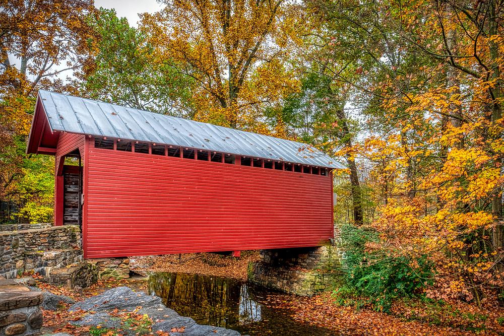 Roddy Road Covered Bridge Fall Foliage Thurmont MD Autumn Fall Color
