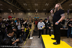 Brent Rogers gets introduced to the crowd at the Annual Mooneyes Yokohama Hot Rod and Custom Show. Japan. Sunday, December 7, 2014. Photograph ©2014 Michael Lichter.