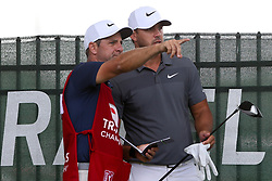 June 22, 2018 - Cromwell, Connecticut, United States - Brooks Koepka (R) and his caddie,chat on the 9th hole during  the second round of the Travelers Championship at TPC River Highlands. (Credit Image: © Debby Wong via ZUMA Wire)