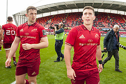 September 30, 2017 - Limerick, Ireland - Darren Sweetnam and Ian Keatley of Munster celebrate during the Guinness PRO14 Conference A Round 5 match between Munster Rugby and Cardiff Blues at Thomond Park in Limerick, Ireland on September 30, 2017  (Credit Image: © Andrew Surma/NurPhoto via ZUMA Press)