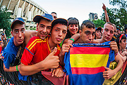 Group of fans proudly shows spanish flag
