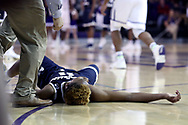 HIGH POINT, NC - JANUARY 06: Charleston Southern's Christian Keeling suddenly collapsed to the court late in the game.. The High Point University of Panthers hosted the Charleston Southern University Buccaneers on January 6, 2018 at Millis Athletic Convocation Center in High Point, NC in a Division I men's college basketball game. HPU won the game 80-59.