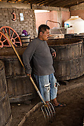 A worker rests at an artisanal Mezcal distillery November 5, 2014 in Matatlan, Mexico. Making Mezcal involves roasting the blue agave, crushing it and then fermenting the liquid.