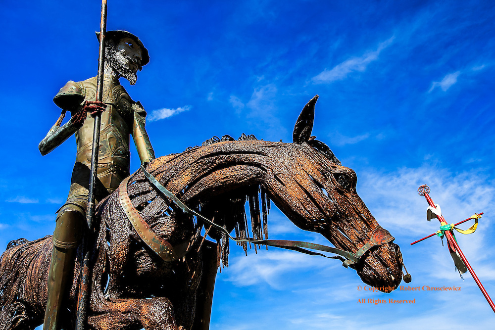 Rusting Tale: The tale of Don Quixote is portrayed in this rusting iron works that includes his horse, lance and Catholic Cross, Varadaro Cuba.