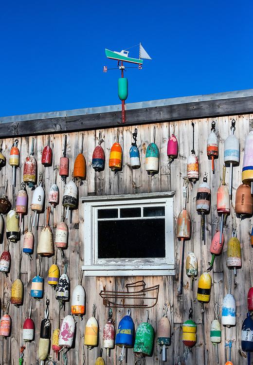 Lobster shack with colorful buoys, Jonesport, Maine, USA