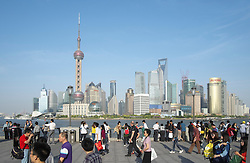 View of cityscape of Pudong district of Shanghai in China