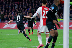 Oussama Idrissi #11 of AZ Alkmaar in action during the Dutch Eredivisie match round 25 between Ajax Amsterdam and AZ Alkmaar at the Johan Cruijff Arena on March 01, 2020 in Amsterdam, Netherlands