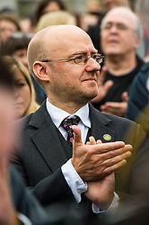 Pictured: Patrick Harvie, co-convenor of Green Party MSP<br /> Thousands of people gathered outside the Scottish Parliament to demonstrate for Scotland to remain part of EU. Young and old gathered in support of the European Movement Edinburgh  whoorganised the event inthe wake of the vote to leave<br /> <br /> <br /> Ger Harley | EEm 29 June 2016