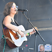 Basking in London - Lucy May Walker performs Lydia Bright presenter at the Feast of St George to celebrate English culture with music and English food stalls in Trafalgar Square on 20 April 2019, London, UK.
