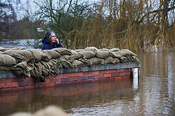 © Licensed to London News Pictures. 28/12/2015. Cawood, UK. A woman looks out from behind sandbags on top of a flood defence wall keeping flood water away from the town of Cawood in North Yorkshire where floods and rising tides have threatened the town. Several warnings of risk to life are sill in place in parts of Lancashire and Yorkshire where rainfall has been unusually high, causing heavy flooding. Photo credit: Ben Cawthra/LNP