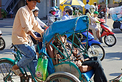Woman Traveling In Bicycle Tuk Tuk