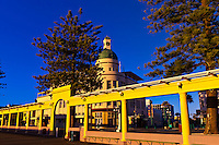 Colonnade with the T&G Dome behind (art deco architecture), Napier, Hawkes Bay, North Island, New Zealand