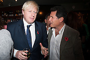 BORIS JOHNSON; JOSH BERGER, Party to celebrate the publication of 'Winter Games' by Rachel Johnson. the Draft House, Tower Bridge. London. 1 November 2012.