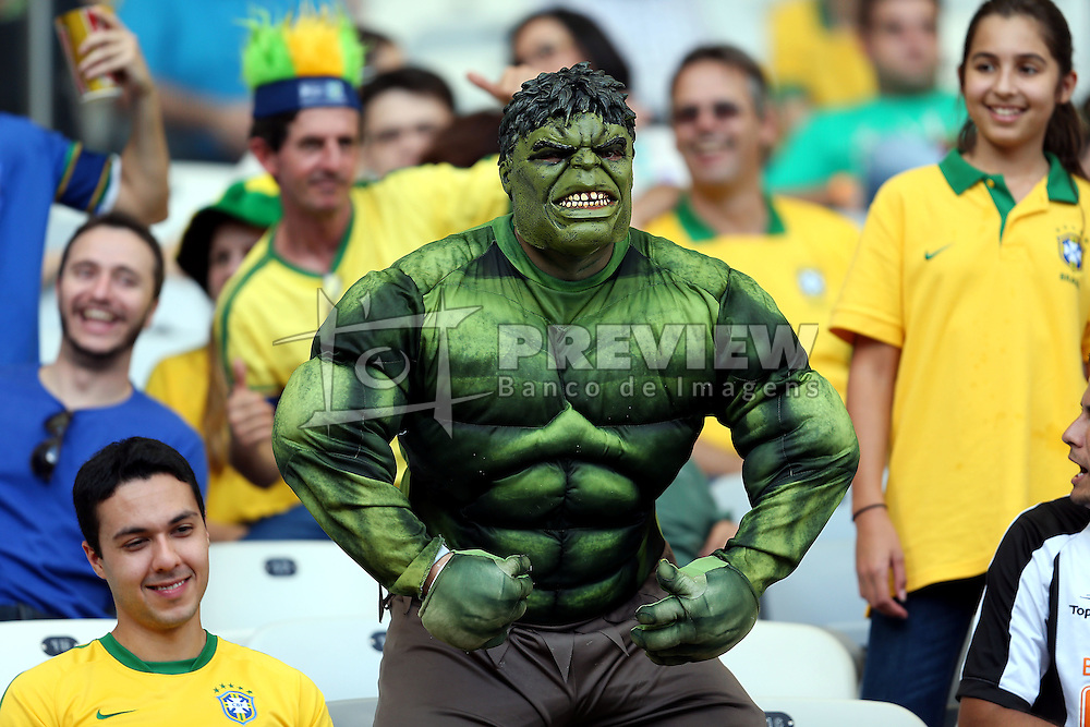 Huk na torcida brasileira na partida entre Brasil e Uruguai válida pela Copa das Confederações 2013, no Estádio Mineirão, em Belo Horizonte-MG. FOTO: Jefferson Bernardes/Preview.com