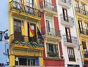 Historic narrow buildings in city centre, Valencia, Spain
