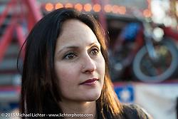 """Wall rider"" Sandra Donmoyer of the California Hellriders Wall of Death at the Iron Horse Saloon during Daytona Beach Bike Week. Ormond Beach, FL, USA. Sunday March 8, 2015.  Photography ©2015 Michael Lichter."