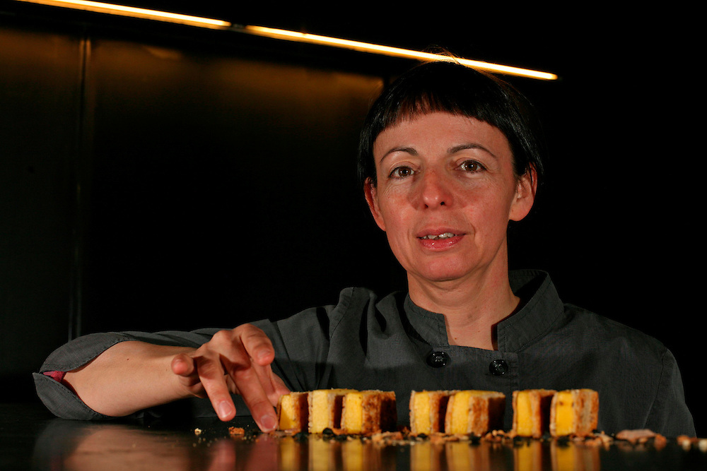 The best Catalan cooks of the guide Michelin. Chef Fina Puigdevall who directs and owns the kitchen of prestigious restaurant Les Cols located in Olot (Catalonia. Spain). The image was taken at his restaurant.