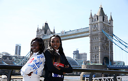 Kenya's Mary Keitany and Ethiopia's Tirunesh Dibaba poses during the media day at Tower Hotel London. PRESS ASSOCIATION Photo. Picture date: Wednesday April 18, 2018. Photo credit should read: Steven Paston/PA Wire