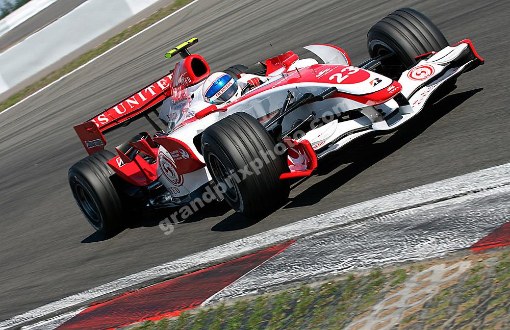 Anthony Davidson (Super Aguri-Honda) in practice for the 2007 European Grand Prix at the Nurburgring. Photo: Grand Prix Photo
