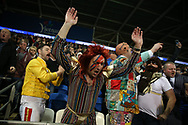 Newcastle Uttd fans wearing fancy dress celebrate their teams win.   EFL Skybet championship match, Cardiff city v Newcastle Utd at the Cardiff City Stadium in Cardiff, South Wales on Friday 28th April 2017.<br /> pic by Andrew Orchard, Andrew Orchard sports photography.