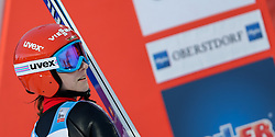 30.01.2016, Normal Hill Indiviual, Oberstdorf, GER, FIS Weltcup Ski Sprung Ladis, Bewerb, im Bild Ramona Straub (GER) // Ramona Straub of Germany reacts after her Competition Jump of FIS Ski Jumping World Cup Ladis at the Normal Hill Indiviual, Oberstdorf, Germany on 2016/01/30. EXPA Pictures © 2016, PhotoCredit: EXPA/ Peter Rinderer