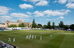A general view of the Cheltenham Cricket Festival as Gloucestershire and Northamptonshire walk out for the start of the game - Photo mandatory by-line: Dougie Allward/JMP - Mobile: 07966 386802 - 09/07/2015 - SPORT - Cricket - Cheltenham - Cheltenham College - LV=County Championship 2
