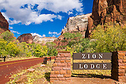 The Zion Lodge sign, Zion National Park, Utah