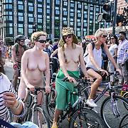 London,England,UK. 10th June 2017. The World Naked Bike Ride passing Westminster, London, UK