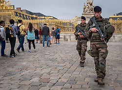 September 7, 2016 - Versailles, U.S. - As tourist line up, French Security Forces patrol the grounds of The Chateau in Versailles, France, Tuesday, September 6, 2016 (Credit Image: © Bryan Woolston via ZUMA Wire)
