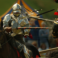 The first joust heat held at the Scottish medieval tournament with the Royal Armouries was held at the House of Binns near Edinburgh.31.07.2005.PA.Picture David Cheskin.
