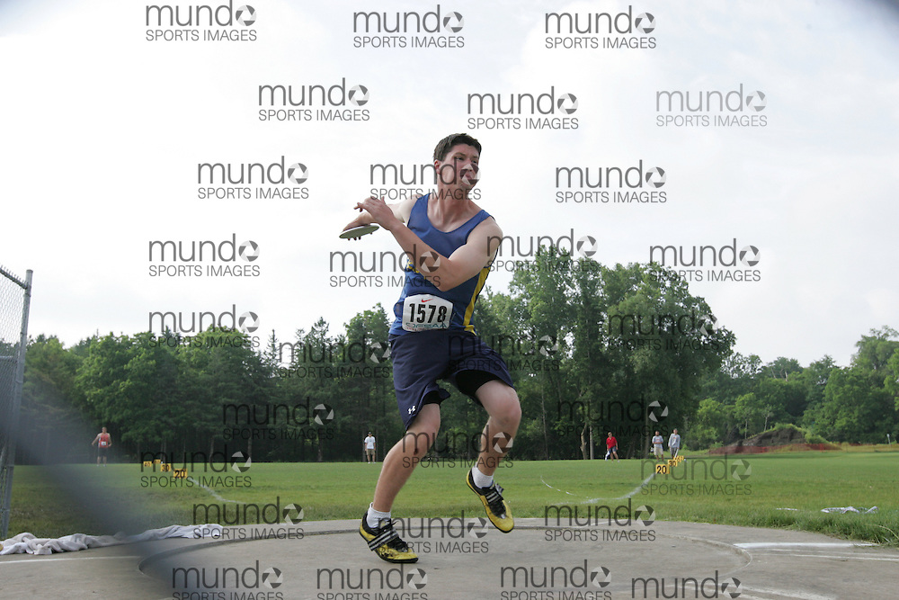 (London, Ontario}---05 June 2010) Alex Pilar of Saugeen - Port Elgin competing in the senior boys discus at the 2010 OFSAA Ontario High School Track and Field Championships in London, Ontario, June 05, 2010 . Photograph copyright Julie Robins / Mundo Sport Images, 2010.