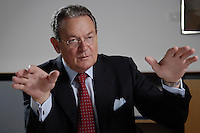 31 JUN 2007, BERLIN/GERMANY:<br /> Juergen Thumann, Praesident Bundesverband der Deutschen Industrie, BDI, und Vorsitzender des Gesellschafterausschusses der Heitkamp & Thumann Group, waehrend einem Interview, Haus der Wirtschaft<br /> IMAGE: 20070731-01-036<br /> KEYWORDS: Jürgen Thumann