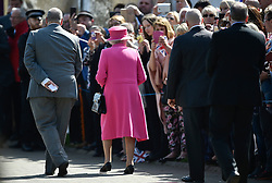 © Licensed to London News Pictures. 20/04/2016. HRH QUEEN ELIZABETH II arrives to officially open the new bandstand at Alexandra Gardens in Windosr on the eve of her 90th birthday. Photo credit: Hannah McKay/LNP