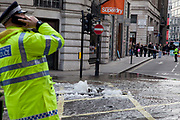 London, UK. Saturday 2nd March 2013. Burst water main causes flooding disruption in central London. Here in Regent Street is where the source of the problem.