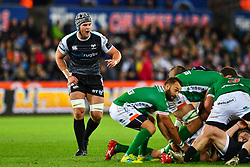 Dan Lydiate of Ospreys in action during todays match<br /> <br /> Photographer Craig Thomas/Replay Images<br /> <br /> Guinness PRO14 Round 4 - Ospreys v Benetton Treviso - Saturday 22nd September 2018 - Liberty Stadium - Swansea<br /> <br /> World Copyright © Replay Images . All rights reserved. info@replayimages.co.uk - http://replayimages.co.uk