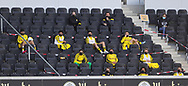 Ersatzspieler auf der Tribüne media press during the Paderborn vs Borussia Dortmund Bundesliga match at Benteler Arena, Paderborn, Germany on 31 May 2020.