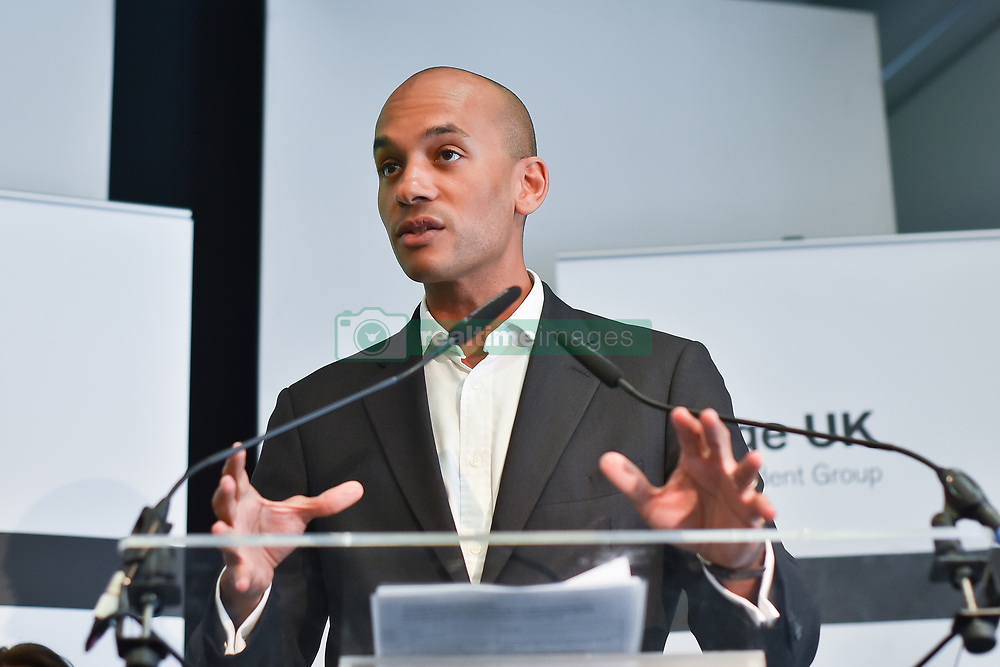 April 30, 2019 - London, England, United Kingdom - Change UK MP Chuka Umunna speaks during a People's Vote Remain rally for the European elections by newly formed political party Change UK in London on April 30, 2019. Change UK - The Independent Group, was formed in February 2019 by breakaway members of Parliaments from Conservative and Labour parties. The group are pro European Union and are calling for a people's vote on Britains's exit from the union. (Credit Image: © Alberto Pezzali/NurPhoto via ZUMA Press)