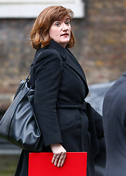 © Licensed to London News Pictures. 17/12/2019. London, UK. Nicky Morgan who has been given a life peerage and retained her position as Culture Secretary after standing down before the election leaves Downing Street after the first Cabinet meeting with Prime Minister Boris Johnson. Photo credit: Alex Lentati/LNP