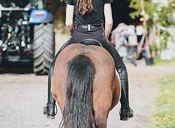 THEMENBILD - eine junge Frau reitet auf einem Pferd nach dem ersten Ausritt nach dem Lock down zum Stall zurück, aufgenommen am 01. Mai 2020 in Kaprun, Oesterreich // a young woman rides back to the stable on a horse after the first ride after the lock down in Kaprun, Austria on 2020/05/01, Kaprun, Austria. EXPA Pictures © 2020, PhotoCredit: EXPA/ Stefanie Oberhauser