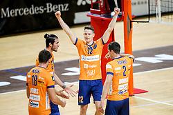 Players of ACH Volley Ljubljana celebrate during volleyball match between ACH Volley Ljubljana and Calcit Kamnik in Mevza League 2020/21, on October 17, 2020 in Hala Tivoli, Ljubljana, Slovenia. Photo by Matic Klansek Velej / Sportida
